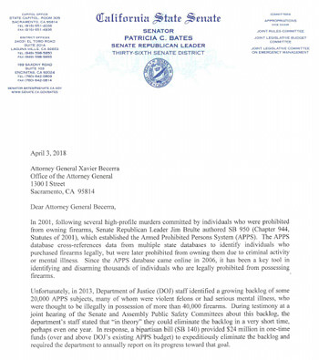 Click here to read the letter to Attorney General Xavier Becerra